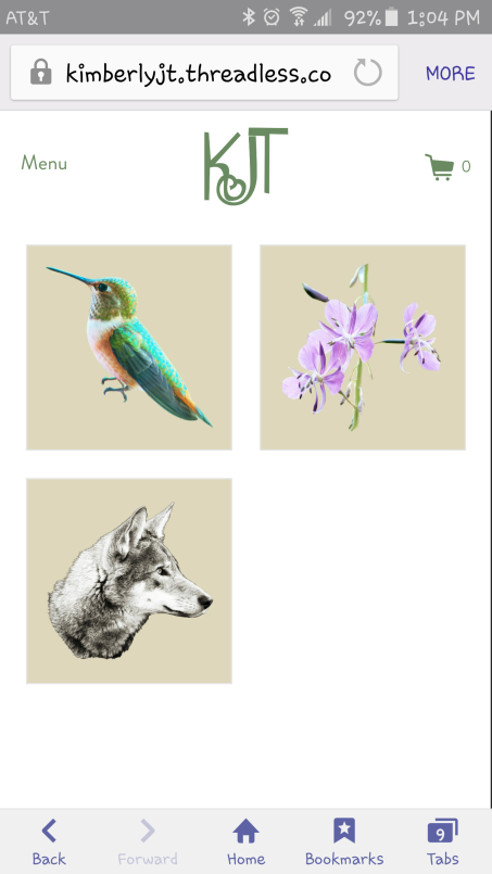 You can order the hummingbird, Hyacinth, and the wolf artwork on shirts at www.kimberlyjt.threadless.com