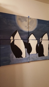 "Three Orcas spy-hoping under the moon. ""Raising the Moon"" painting Copyright Kimberly J Tilley."