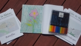 This flower, I used Pastel Crayons. I couldn't find regular wax crayons. So I leave a blank paper on top of the image to make sure it does not make a mess in the book.