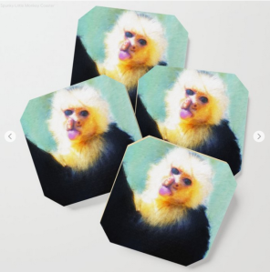 Monkey portrait printed on paper coaster